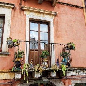 balcony with plants taormina italy
